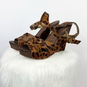 Sam Edelman Katrice Animal Print Fur Wedge GUC tan